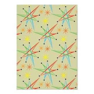 Atomic Starburst Retro Multicolored Pattern Invite