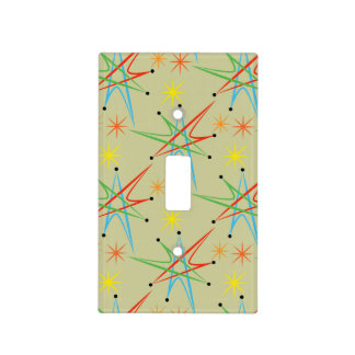 Atomic Starburst Retro Multicolored Pattern Switch Plate Covers