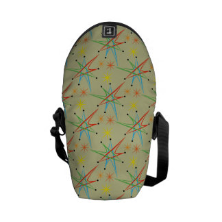 Atomic Starburst Retro Multicolored Pattern Messenger Bag