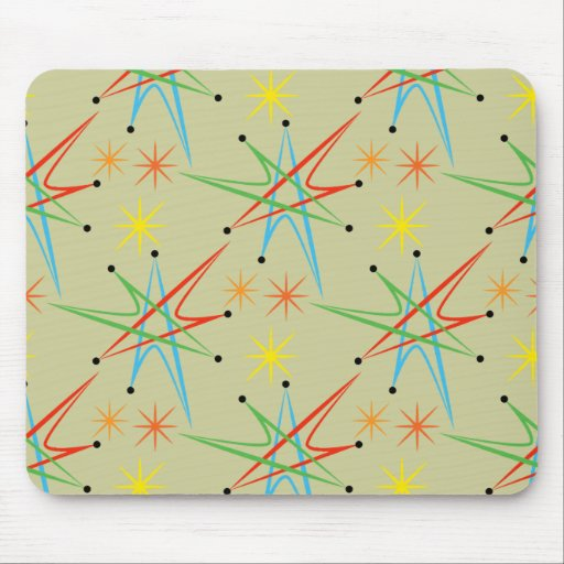 Atomic Starburst Retro Multicolored Pattern Mouse Pads
