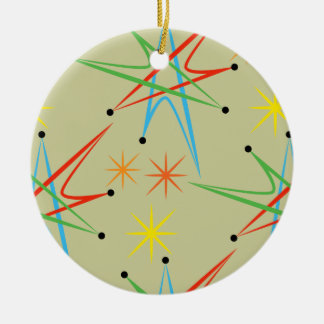 Atomic Starburst Retro Multicolored Pattern Double-Sided Ceramic Round Christmas Ornament