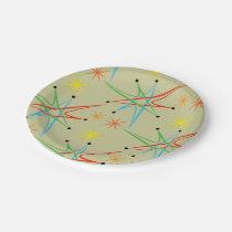 Atomic Starburst Retro Multicolored Pattern Paper Plate