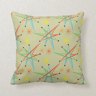 Atomic Starburst Retro Multicolored Pattern Throw Pillows