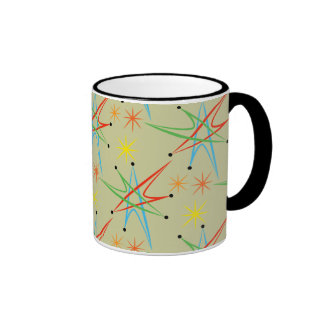 Atomic Starburst Retro Multicolored Pattern Ringer Mug