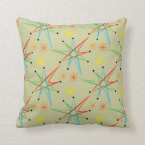 Atomic Starburst Retro Multicolored Pattern Throw Pillow