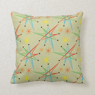 Atomic Starburst Retro Multicolored Pattern Throw Pillow