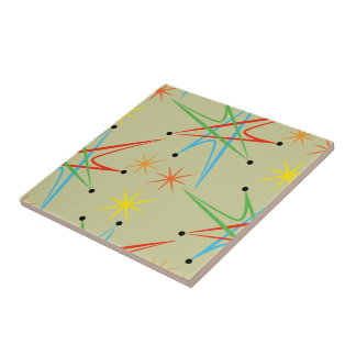 Atomic Starburst Retro Multicolored Pattern Tile