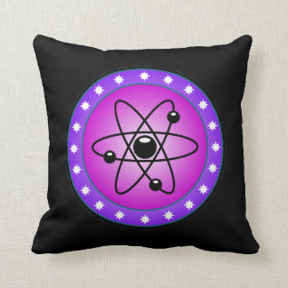 Atomic Symbol on a Pink background Throw Pillow