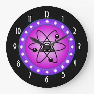 Atomic Symbol on a Pink background Wall Clock