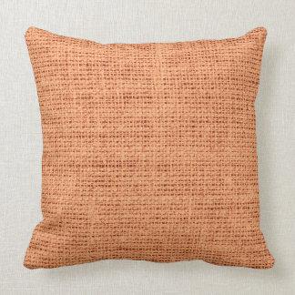 Atomic tangerine burlap linen background throw pillow