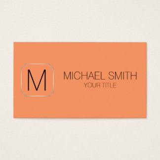 Atomic tangerine color background business card
