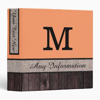 Atomic tangerine Color Rustic Look Wood Monogram Binder