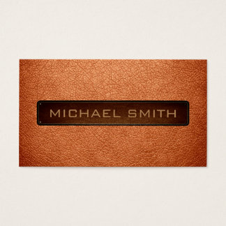 Atomic tangerine Leather Look Professional Business Card