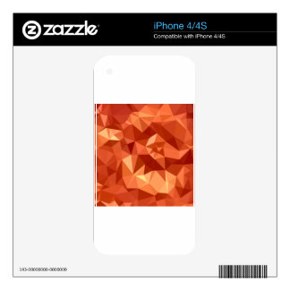 Atomic Tangerine Orange Abstract Low Polygon Backg Decals For iPhone 4