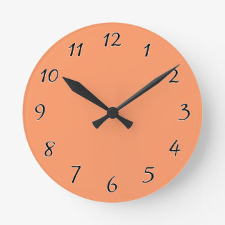 Atomic Tangerine Orange template to Customize Round Clock