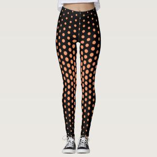 Atomic Tangerine Techno Dot Pattern Leggings