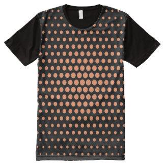 Atomic tangerine Techno Dots Modern Black All-Over-Print Shirt