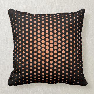 Atomic tangerine Techno Dots Modern Black Throw Pillow