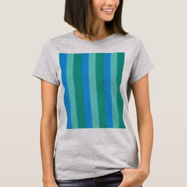 Beach Themed Atomic Teal and Turquoise Stripes T-Shirt