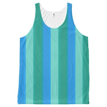 Beach Themed Atomic Teal and Turquoise Stripes Tank Top