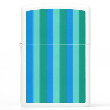 Beach Themed Atomic Teal and Turquoise Stripes Zippo Lighter