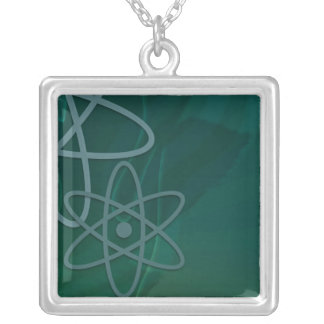 Atomic Teal Square Pendant Necklace