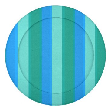Beach Themed Atomic Teal & Turquoise Stripes Button Cover