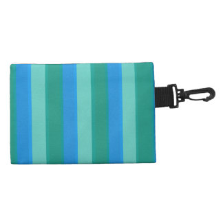 Atomic Teal & Turquoise Stripes Clip On Accessory Accessory Bag
