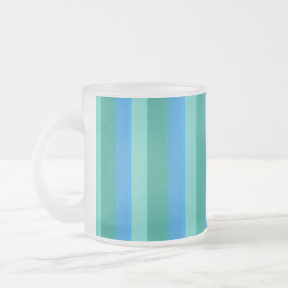 Atomic Teal & Turquoise Stripes Frosted Glass Mug
