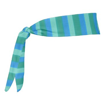 Beach Themed Atomic Teal & Turquoise Stripes Headband Tie Headband