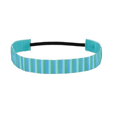 Beach Themed Atomic Teal & Turquoise Stripes Non-Slip Headband