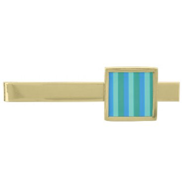 Beach Themed Atomic Teal & Turquoise Stripes Tie Bar