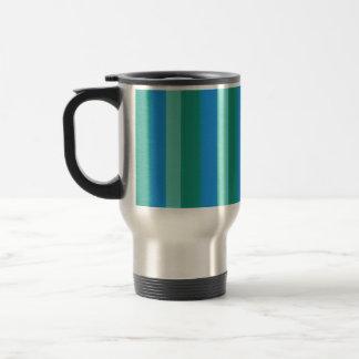 Atomic Teal & Turquoise Stripes Travel Mug