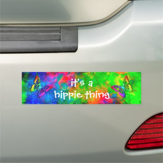 [Atomic Tie Dye} Psychedelic Butterflies Hippie Bumper Sticker Car Magnet