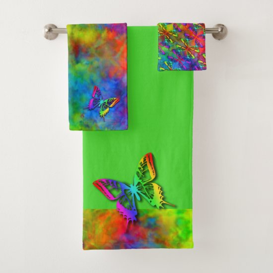 [Atomic Tie-Dye]  Psychedelic Rainbow Butterfly Bath Towel Set