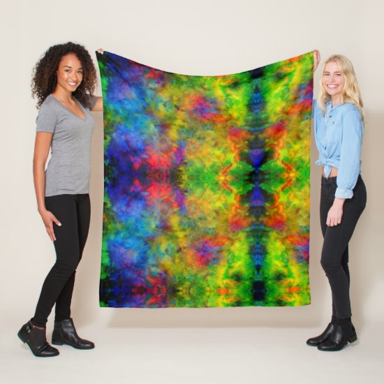 [Atomic Tie-Dye]  Psychedelic Rainbow Colors Fleece Blanket