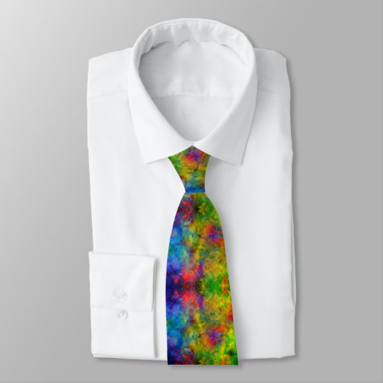 [Atomic Tie-Dye]  Psychedelic Rainbow Colors Neck Tie
