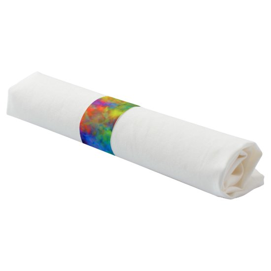 [Atomic Tie-Dye] Psychedelic Rainbow Colors Paper Napkin Band
