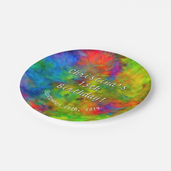 [Atomic Tie-Dye] Psychedelic Rainbow Colors Paper Plate