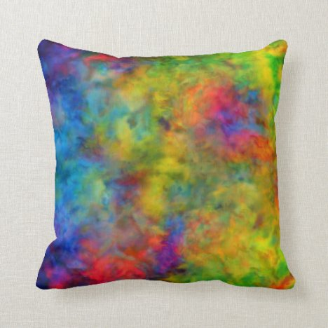 [Atomic Tie-Dye]  Psychedelic Rainbow Colors Throw Pillow