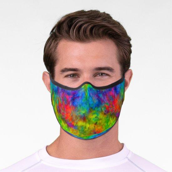 [Atomic Tie-Dye] Rainbow Colors Fractal Premium Face Mask
