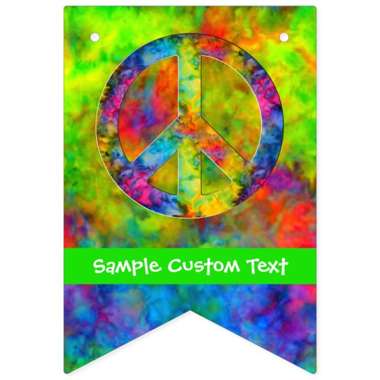 [Atomic Tie-Dye] Rainbow Colors Peace Sign Hippie Bunting Banner
