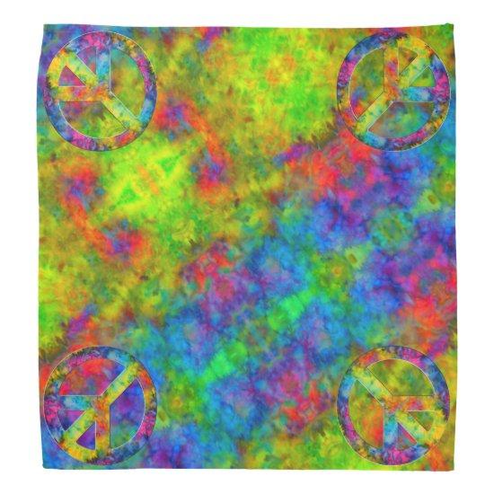 [Atomic Tie-Dye] Rainbow Colors Peace Sign Symbol Bandana