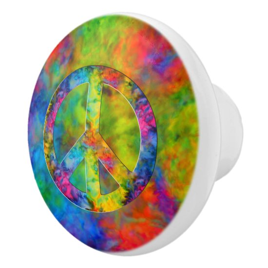 [Atomic Tie-Dye] Rainbow Colors Peace Sign Symbol Ceramic Knob