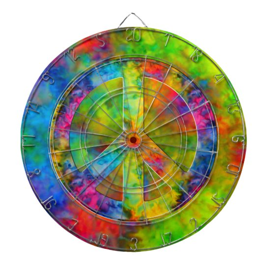 [Atomic Tie-Dye] Rainbow Colors Peace Sign Symbol Dart Board