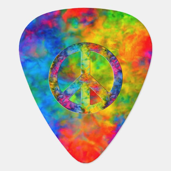 [Atomic Tie-Dye] Rainbow Colors Peace Sign Symbol Guitar Pick