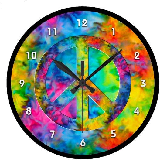 [Atomic Tie-Dye] Rainbow Colors Peace Sign Symbol  Large Clock