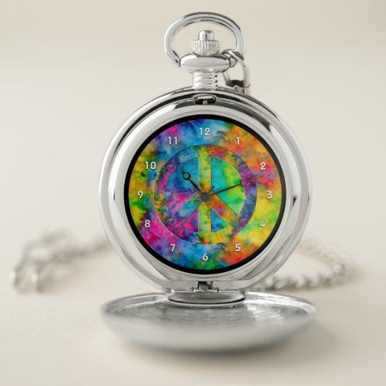 [Atomic Tie-Dye] Rainbow Colors Peace Sign Symbol Pocket Watch