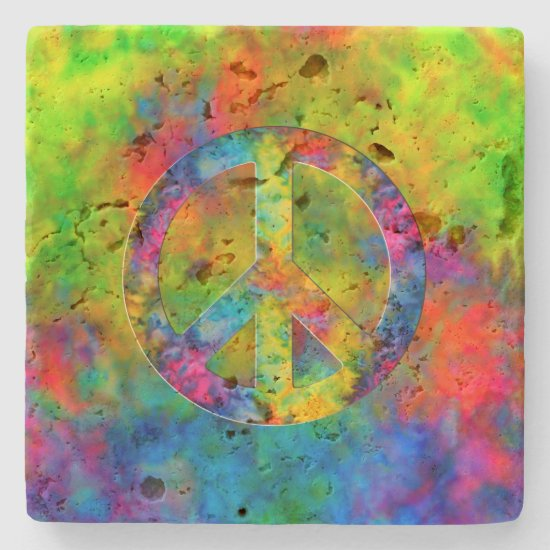 [Atomic Tie-Dye] Rainbow Colors Peace Sign Symbol Stone Coaster