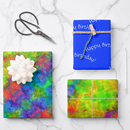 [Atomic Tie-Dye] Set of Psychedelic Rainbow Color Wrapping Paper Sheets